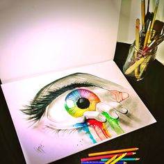 #art #eye #drawing #colors #painting #splash #pencil
