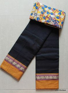 Black colour handloom soft cotton saree with running blouse as well kalamkari blouse