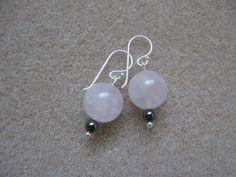 Rose quartz and hematite earrings