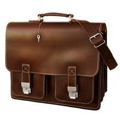 Geräumige, robuste Aktentasche in Größe XL. Hamosons Modell 690 in braunem Leder taugt auch als Lehrertasche oder Unitasche. 179,00 €