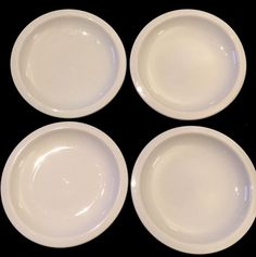 """4 POTTERY BARN SUPPERTIME WHITE 8"""" PLATES"""