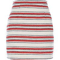 Red stripe woven A-line skirt