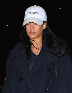 Rihanna wearing this winters trend: Dad Hat. dad hats. baseball caps.