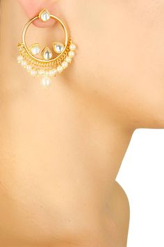 Gold plated kundan and pearl hoop earrings available only at Pernia's Pop Up Shop.