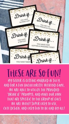 All the girls will love playing this drinking game at your bachelorette party. Customize the drinking cards with your own directions and print as many as you need! #bachelorette #wedding #drinking #game Bachelorette Party Games, Bachelorette Weekend, Non Alcoholic Drinks, Fun Drinks, Snacks To Make, Beginning Reading, Drinking Games, Get The Party Started, Host A Party