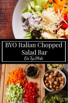 Make a build your own Italian Chopped Salad Bar perfect for a fun pizza night. Great for meal prep and quick snacking.