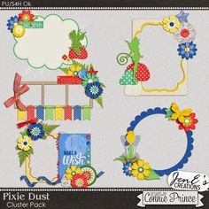 Pixie Dust - Cluster Pack from Designs by Connie Prince Diy Scrapbook, Scrapbook Albums, Pixie, Grab Bags, Mini Albums, Digital Scrapbooking, Projects To Try, Creations, Packing