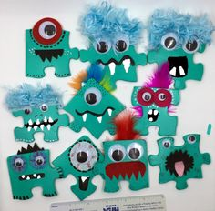 Shoeboxes on a Shoestring Facebook community, frugal ideas for Operation Christmas Child Shoeboxes Puzzle Piece Monsters for boxes. Can't link directly to facebook :( date of post 5/17/16 OCC Shoebox, boys, 2-4, 5-9, 10-14