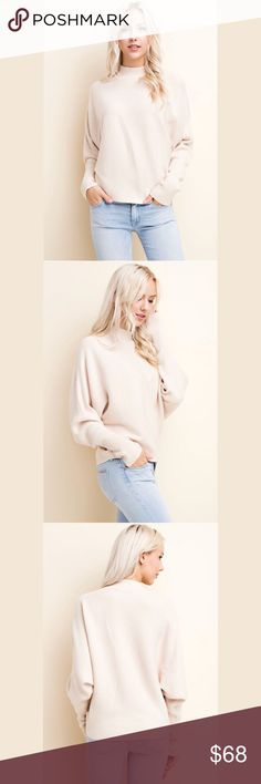 Turtleneck Dolman Sweater High-quality knit sweater in a stunning nude cream. Comfortable, warm and you'll look gorgeous!  Brand: Blushing Heart Color: Nude Cream 65% viscose, 25% nylon, 15% lycra, 5%wool Sweaters