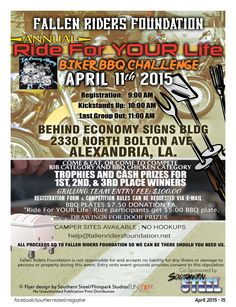 Fallen Riders Foundation Annual Ride for YOUR Life & Biker BBQ Challenge in Alexandria Louisiana!
