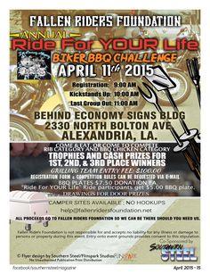 Fallen Riders Foundation Annual Ride for YOUR Life & Biker BBQ Challenge in Alexandria Louisiana!