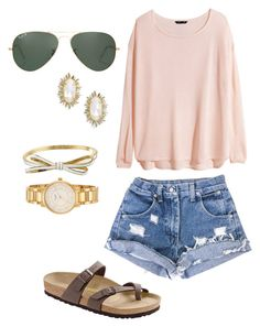 """""""Cool for the summer"""" by becomingpreppy ❤ liked on Polyvore featuring H&M, Kendra Scott, Birkenstock, Ray-Ban, Kate Spade, women's clothing, women's fashion, women, female and woman"""