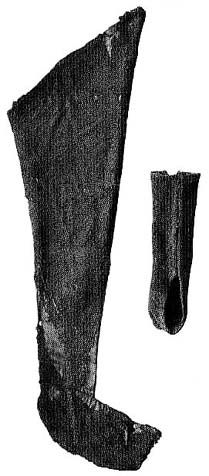 Hose from graveyard in Herjolfsnes (c. 14th century),  Buried Norsemen at Herjofsnes; Norlund.