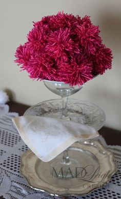 DIY 3 tiered stand (2 wine glasses, and 3 plates glued together!) and my pretty pompompomander <3