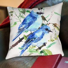 Found it at Wayfair - Mountain Birds Cotton Throw Pillow