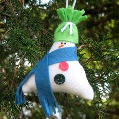 stuffed triangle snowman ornament