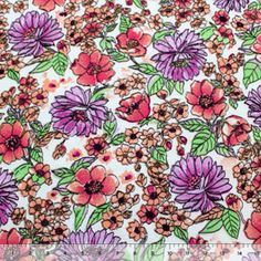 Purple Painted Mums Floral Cotton Jersey Knit Fabric