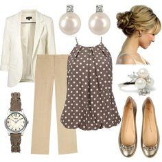 Work - white blazer, linen slacks, love the polka dot top - Spring Work Outfits Mode Outfits, Fashion Outfits, Womens Fashion, Fashion Trends, Woman Outfits, Club Outfits, Fashion Clothes, Fashion News, Business Outfits