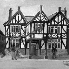 Ye Olde Queen's Head, Day,  B&W by Jill Pears, using a different take on my original painting