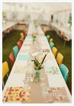 burlap runner, colorful vintage chairs, fun placemats