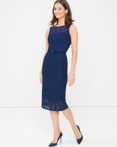 "The crocheted lace gives this sheath dress a noteworthy look. The face-framing neckline and scoop back add for tasteful touches—easily styled from day to night with a simple change of accessories.   Sleeveless lace sheath dress in blue depths Princess seams for a contoured fit Scoop back with invisible zipper and hook-and-eye closure Regular: Approx. 43"" from shoulder; 5"" below knee Petite: Approx. 39 5/8"" Fully lined 100% rayon. Lining: Polyester/spandex. Machine wash cold. Imported"