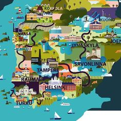Southern Finland is almost done! This is a detail from the actual illustration. Work in process. Illustrated Map of Finland -project continues. Work In Process, Infographics Design, Design Art, Graphic Design, Freelance Illustrator, Vector Graphics, Finland, Maps, City Photo
