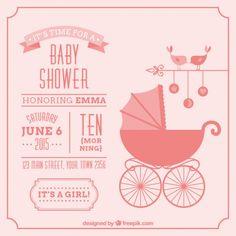 Cartão do chuveiro de bebê do vintage para menina - http://br.freepik.com/vetores-gratis/cartao-do-chuveiro-de-bebe-do-vintage-para-menina_784942.htm