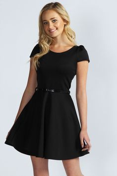 Milly Cap Sleeve Belted Skater Dress at boohoo.com