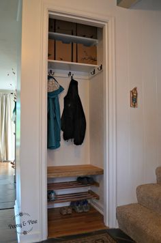 "Coat closet turned into an entry way ""mini mudroom"" - Peony & Pine"