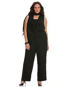 3692158d3b8 Lane Bryant Plus Size   Lane scarf-tie jumpsuit Size black
