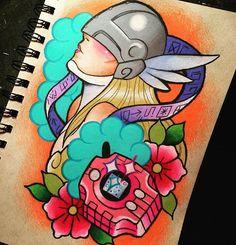 Thigh  @liltatmama RVA Black Rabbit Tattoo