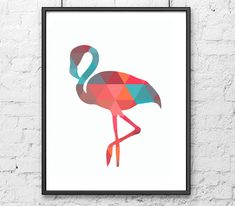 Geometric  Flamingo Canvas Art Print Poster, Wall Pictures for Home Decoration, Wall Decor FA237-14