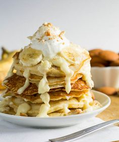 Banana Pudding Pancakes via SpicySouthernKitchen...not healthy at all but you have to live a little once in a while right?!