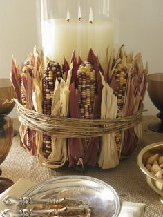"""Mini Indian Corn""""DIY fall decor ideas -- what is it about corn that says Autumn? Thanksgiving Centerpieces, Thanksgiving Crafts, Holiday Crafts, Holiday Fun, Autumn Centerpieces, Rustic Thanksgiving Decor, Christmas Holiday, Holiday Ideas, Fall Candle Centerpieces"""