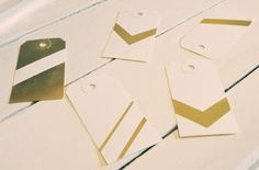 snazzy gold tags; done with gold stamp pad & tape