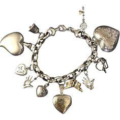 Milor Italy Sterling Heart Charm Bracelet -- found at www.rubylane.com @rubylanecom #VintageBeginsHere #love