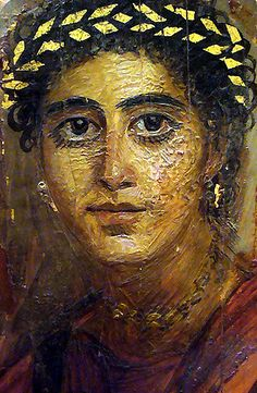 *ANCIENT EGYPT~Roman Period  During the 1st to 3rd century AD in Egypt, painted panel portraits (more commonly referred to as Fayoum or Fayum portraits) were bandaged over the heads of mummies.  These portraits depict the inhabitants of Greco-Roman ancient Egypt in exacting detail.  They were finely executed in encaustic paint on wood or stuccoed linen.  Metropolitan Museum of Art