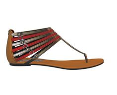 Tan Bronze and Red Tribal Sandals
