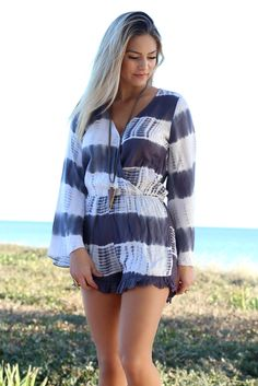 Summer Raine Charcoal Tie Dye Romper With Bell Sleeves - Amazing Lace