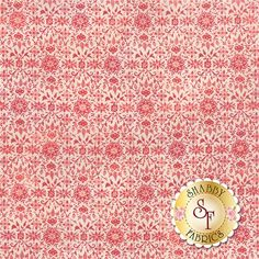"""Evergreen 30405-12 Cherry by Moda Fabrics: Evergreen is a collection by BasicGrey for Moda Fabrics. This fabric features a red snowflake and floral design on a cream background. Width: 43""""/44""""Material: 100% CottonSwatch Size: 6"""" x 6"""" Expected Arrival Date Is May 2015"""