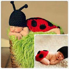 Red Black Ladybug Crochet Animal Beanie Costume Set Photo Props 0-6Months
