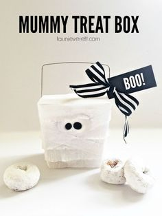 "Love this mummy treat box. Pinning to save the easy-to-follow instructions and the printable ""boo"" tag."