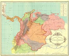 Map showing the shrinking territory of Gran Colombia from 1824 to 1890 (red line). Panama separated from Colombia in 1903 Granada, Columbia, America Independence, South Of The Border, Colombia Travel, American War, Historical Maps, Panama City Panama, American Revolution