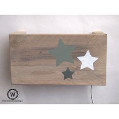 lamp steigerhout met sterren |unieke lamp kinderkamer |gratis verzenden
