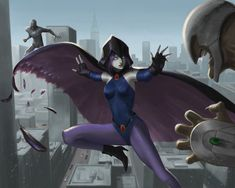 Raven battles the forces of evil alongside her adoptive family, the Teen Titans while trying to control her baser, antagonistic instincts she inherited from her demonic father, Trigon. Teen Titans Fanart, Teen Titans Go, Dc Comics Art, Marvel Dc Comics, Raven Superhero, Teen Titans Tv Series, Raven Fanart, Raven Pictures, Gi Joe