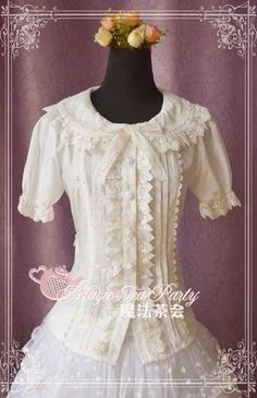 Cultivates qi Cotton Lace Magic Tea Party Lolita Blouse Short Version