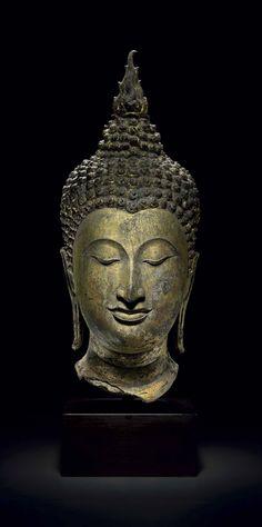 A GILT BRONZE HEAD OF BUDDHA | THAILAND, SUKKOTHAI PERIOD, 14TH/15TH CENTURY | 15th Century, Sculptures, Statues & Figures | Christie's