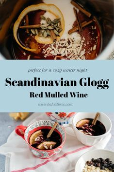 Traditional Glogg Recipe or Mulled Red Wine is found everywhere in Scandinavia.Spiced and slightly sweet, this warm red wine will keep you warm and cozy. Danish Cuisine, Danish Food, Sangria Recipes, Wine Recipes, Vegan Recipes, Krumkake Recipe, Scandinavian Food, Scandinavian Christmas, Swedish Christmas