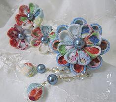 katumi made *つまみ細工の簪(かんざし)髪飾り、つまみ細工のshop*つまみ細工の簪Uピンセット玉下がり付き、ブルー系