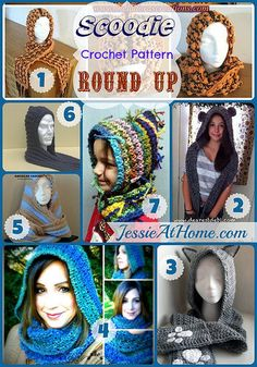 Free Scoodies (scarf and hood in one piece) Crochet pattern roundup on Jessie at Home